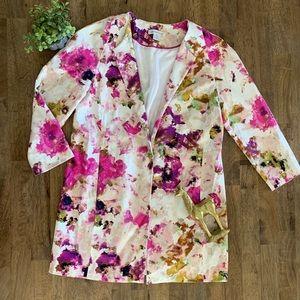 Liz Claiborne Floral Long Open blazer